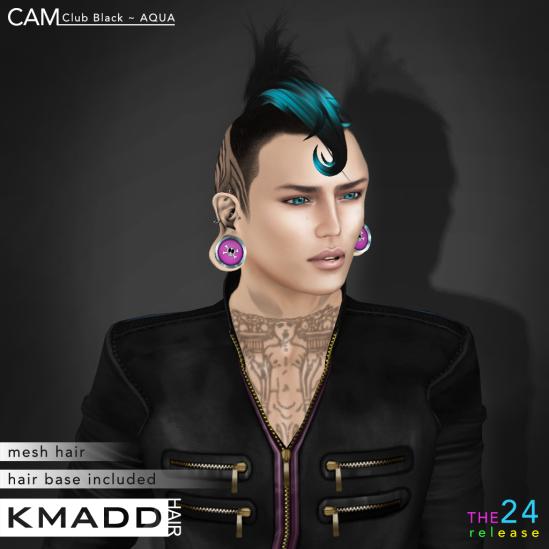 KMADD Hair ~ CAM Club Black ~ AQUA