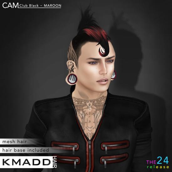 KMADD Hair ~ CAM Club Black ~ MAROON