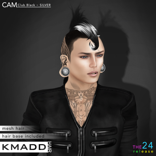 KMADD Hair ~ CAM Club Black ~ SILVER