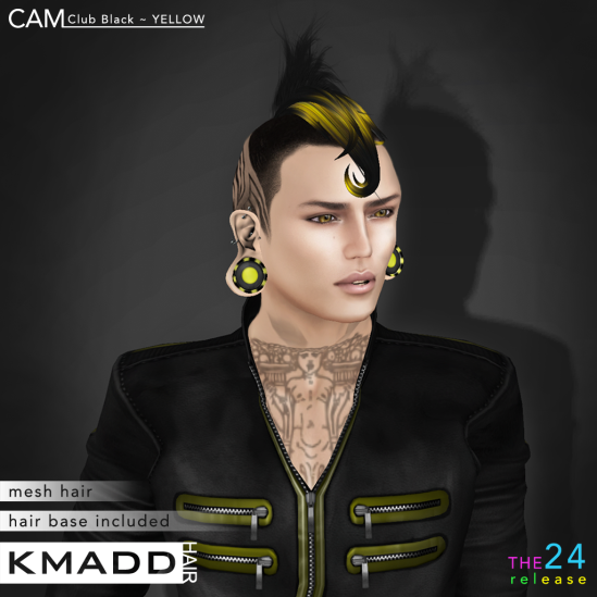 KMADD Hair ~ CAM Club Black ~ YELLOW
