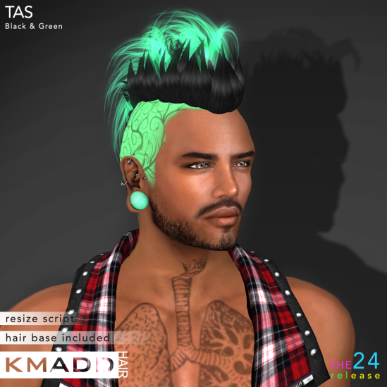 KMADD Hair ~ TAS ~ Black & Green