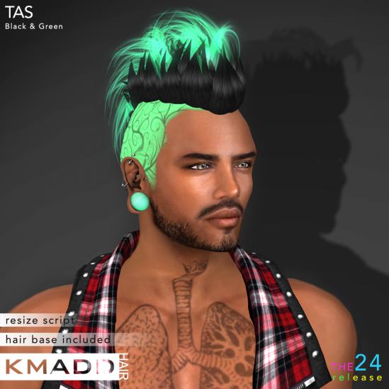 KMADD Hair ~ TAS ~ Black & Green