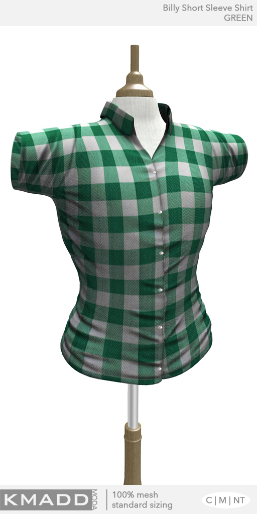KMADD Moda ~ Billy Short Sleeve Checked Shirt ~ GREEN