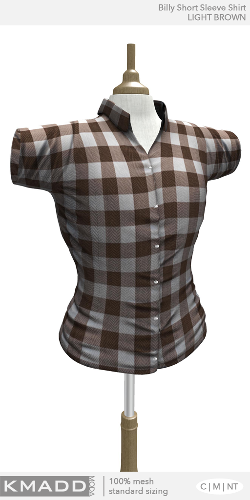 KMADD Moda ~ Billy Short Sleeve Checked Shirt ~ LIGHT BROWN