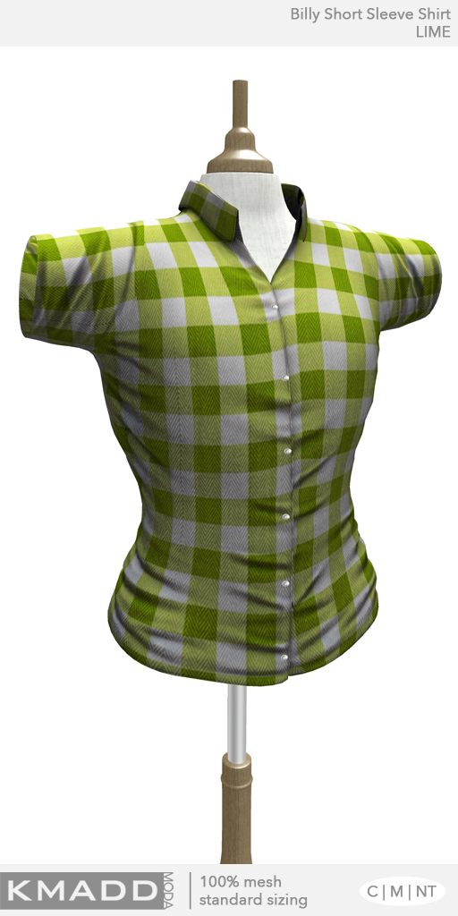 KMADD Moda ~ Billy Short Sleeve Checked Shirt ~ LIME