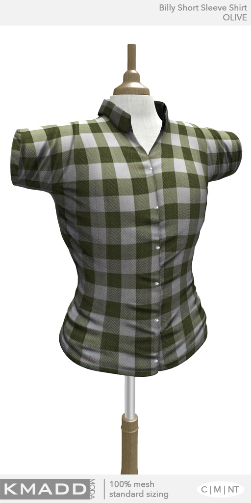 KMADD Moda ~ Billy Short Sleeve Checked Shirt ~ OLIVE