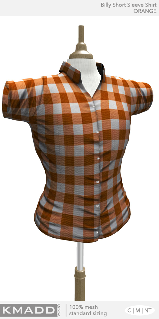 KMADD Moda ~ Billy Short Sleeve Checked Shirt ~ ORANGE