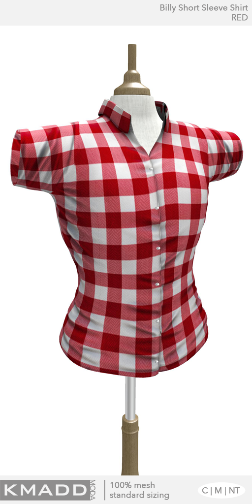 KMADD Moda ~ Billy Short Sleeve Checked Shirt ~ RED