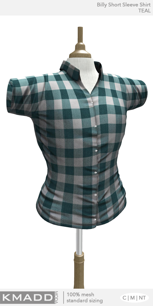 KMADD Moda ~ Billy Short Sleeve Checked Shirt ~ TEAL