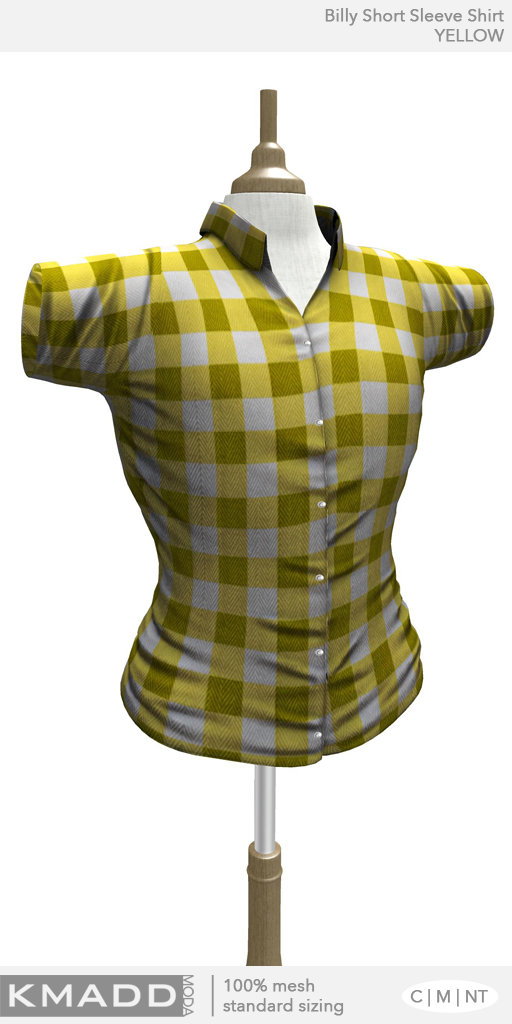 KMADD Moda ~ Billy Short Sleeve Checked Shirt ~ YELLOW