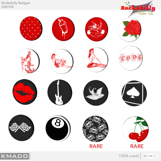 KMADD Moda ~ Rockabilly Badges Gachas