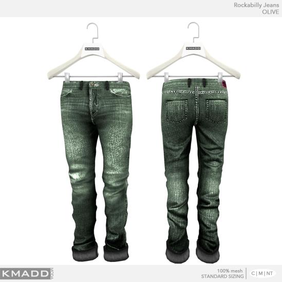KMADD Moda ~ Rockabilly Jeans ~ OLIVE